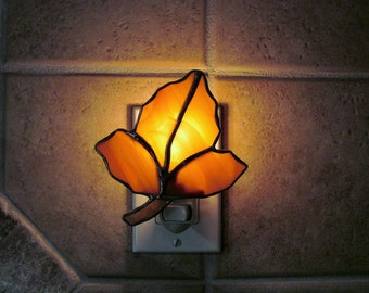 "Stained Glass ""Fall Leaf""  Night Light in Amber Swirled Opalescent Glass"
