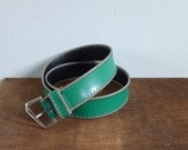 Vintage 80's Green With Envy Stitched Leather Waist Belt
