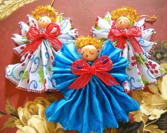 Angel, Group of 3 Colorful Handmade Angels