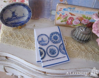 Delft Plate Kitchen Towel for Dollhouse, 1:12 scale