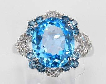 Diamond and Blue Topaz Ring Statement Right Hand Ring White Gold Ring Size 6.75