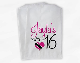 Sweet 16 Birthday Personalized Candy Buffet Bags - Hot Pink and Black Heart Custom Favor Bags - 25 Paper Treat Bags (0081)