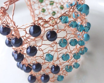 Copper Rose Gold Crystal Cuff Bracelet Knit Crochet Wire Blue Color Block Statement Cuff