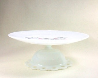 Upcycled Milk Glass Cake Stand with Fire King Pink Clover