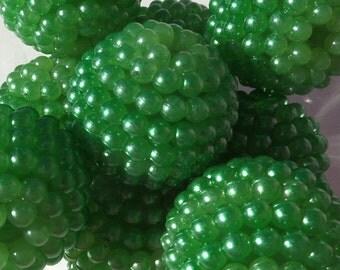 22mm, 4 CT, Green Chunky Berry Beads, Bubblegum beads, F40