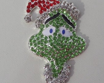 52mm Christmas Grinch Spired Green Sparkly Rhinestone Pendant, P3
