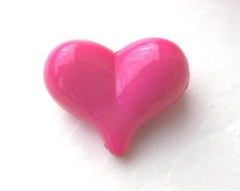 22mm, 10 CT, Pink Heart Chunky Beads, Valentine's Day, Acrylic, Bubblegum Beads, J32