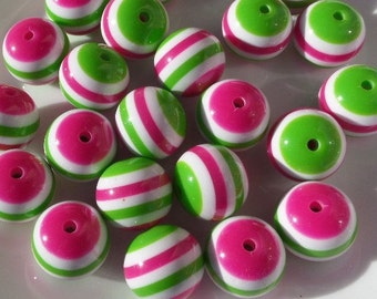 10CT, 20mm Hot Pink, Vivid Green and White Striped Beads F9