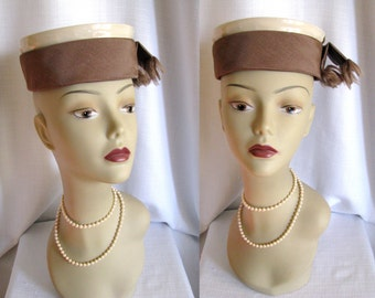 Vintage 1960s Hat - Mr Charles Patent Leather Pill Box Hat