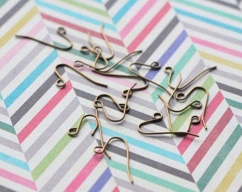 48 pieces (24 pair) // Antiqued Brass French Hook Ear Wire Earring Hook