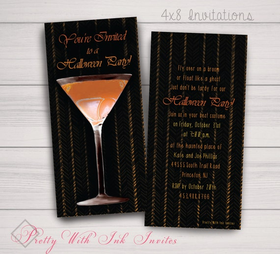 Halloween, Day of Dead, Scary Party, Costume Party Invitations. Martini, Adult, Orange, Black. Digital Files and Printed Orders Available.