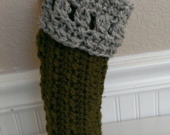 FREE SHIPPING - Hand Crochet-Fingerless Gloves-Arm Warmers-In Olive/Marble Grey Color