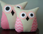 Pink Owl Pillow - Chevron & Dots - Home Decor - Spring Collection - Large or Small - Baby Girl Nursery