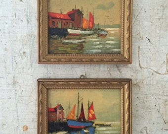 Vintage Pair of  Miniature Frames With Paint