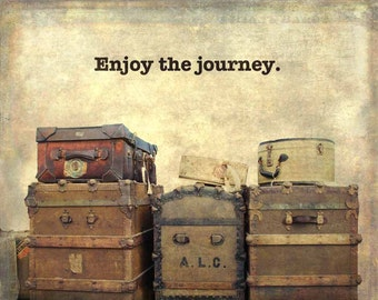 For Travel Lover, traveling, Traveler, beige wall decor, journey, for traveler, vintage luggage art, steamer trunk art, typography, print