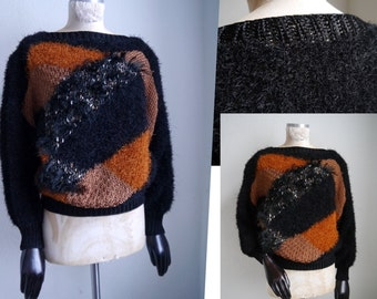 Vintage knit Novelty Sweater 80s 90s pullover Sweater Long sleeves furry autumn winter trends large flurry knit