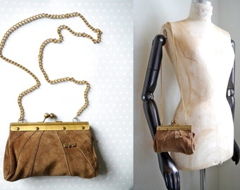 Vintage purse gold chain leather Papillon French Chic Leather Handbag with golden chain Hazel Brown Suede clutch Small lady shoulderbag