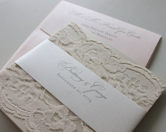 Soft Romantic Lace Wedding Invitation in Champagne, Blush & Ivory
