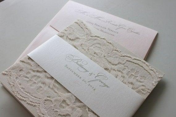 soft romantic lace wedding invitation in champagne blush &, Wedding invitations