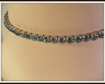 Kramer Blue Crystal Rhinestone Choker Necklace