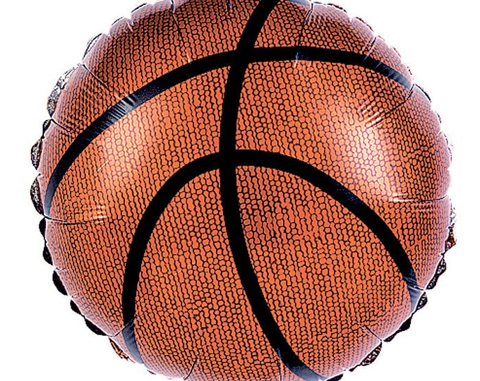 "Basketball Balloons - Mylar - 9"" - Preinflated - SET OF 8 BALLOONS"