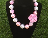 20mm kids children chunky necklace pink with flower