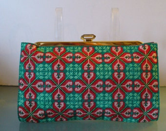 Vintage Needlepoint & Leather Clutch Bag