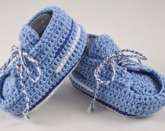 NEW DESIGN Deck Shoes inspired striped sneakers for Baby Boy in Blue and White with Double Sole