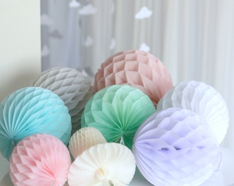 16 Hand made  tissue paper HONEYCOMB BALLS - your colors - wedding decorations