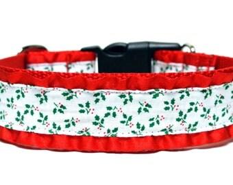 """Holiday Dog Collar 1.5"""" Christmas Dog Collar Holly Dog Collar"""