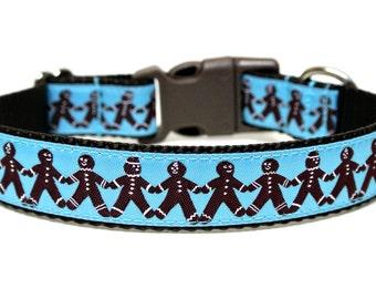 """Holiday Dog Collar 1"""" Blue Christmas Dog Collar"""