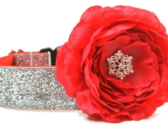 "Silver Glitter Dog Collar 5/8"", 3/4"", 1"" or 1.5"" Christmas Dog Collar Flower Not Included"