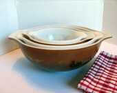 Pyrex  Early American Cinderella Nesting Bowls / Pyrex Brown and Gold Nesting Bowl