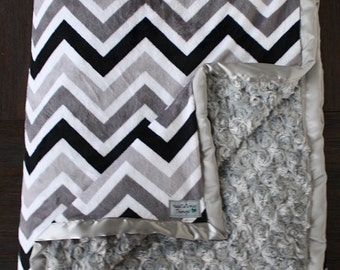 Minky blanket, black and white blanket, chevron blanket, black and grey silver blanket, blanket for boy, Baby boy, available in baby size