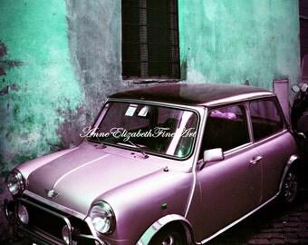 Fiat Photography,Teal Print,Car Picture,Italy Photograph,Purple Fiat,Cobblestone Street,Italian Home Decor,Rustic Wall Art,Romantic,Preppy