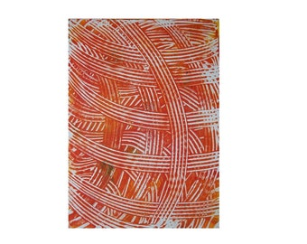 Red String 2 Original Monoprint Abstract Acrylic Painting 5x7 White Orange Yarn Twine Lines