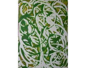 Spring Tree 2 Original Monoprint Abstract Acrylic Painting 5x7 Green White Yellow Swirl Spiral