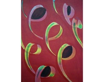 Curls 1/2 Original Monoprint Contemporary Abstract Acrylic Painting 5x7 Red Orange Yellow Purple Loops