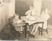 Kids Table - Vintage Photo - Thanksgiving - Christmas Dinner - Snapshot - Vintage Image - Card Table - Scrapbooking - Old Photo