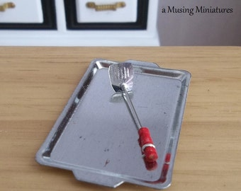 Vintage Style Red Handled Pancake Turner in 1:12 Scale for Dollhouse Miniature Kitchen Bakery or Barbeque