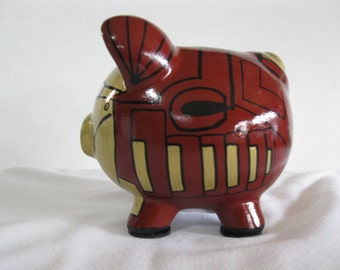 Personalized Piggy Bank, Small, Handpainted, Robot Piggy Bank - Inspired by Ironman - (Unofficial)  - MADE TO ORDER