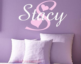 Childrens Wall Decal -Nursery Wall Decal -baby monogram decal-Girls Name Vinyl Wall Decal Personalized