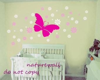 Butterfly and flowers -kids vinyl wall decal -baby wall sticker -nursery wall art