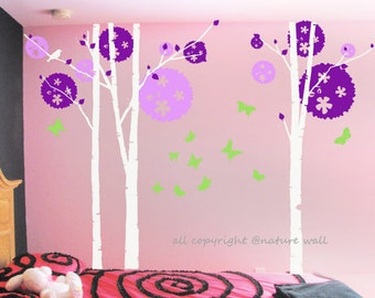 Tree wall  Decal Kids vinyl decals white baby decal nursery decal wall art -Birch tree with butterflies