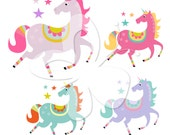 Star Unicorn Digital Clip Art Clipart Set - Personal and Commercial Use