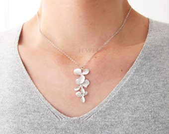 Sterling Silver Necklace Flower Cascading Orchid Floral Necklace Modern Jewelry Minimalist Bridesmaids Gift Wedding Elegant Bridal C1