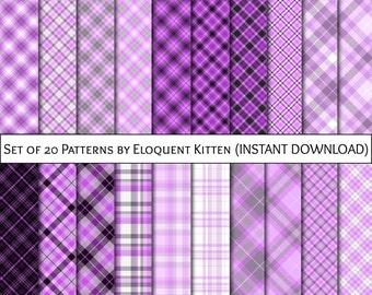 20 Digital Plaid & Tartan Patterns in Purple, Violet, Lavender, Indigo