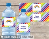 Rainbow Party - Bottle Labels - INSTANT DOWNLOAD - Printable PDF with Editable Text