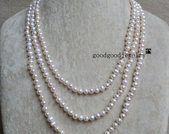 White Pearl Necklace, Long Pearl Necklace, 60 Inches 6-6.5mm Freshwater Pearl Necklace, wedding necklace,wedding jewelry,statement necklace