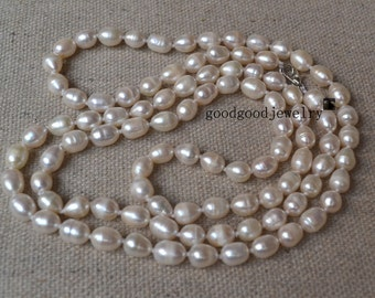 rice Pearl Necklace - A 35 inches 6-7mm ivory Pearl Necklace,freshwater pearl necklace,wedding necklace,long rice pearl necklace